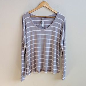 Lorna Jane Drop Shoulder Gray Striped Long Sleeve